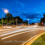 Busy street intersection at night in Toowoomba